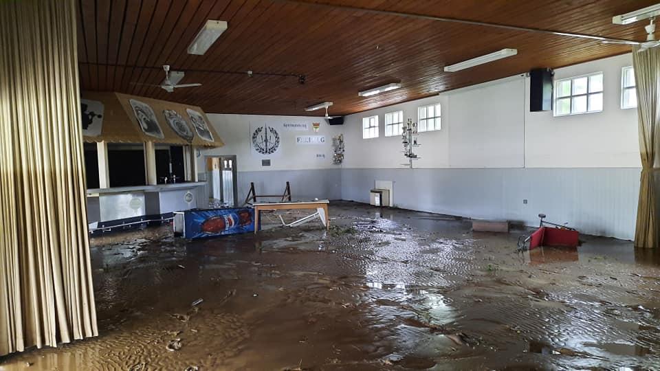 Freiwegheim von der Flutkatastrophe verwüstet